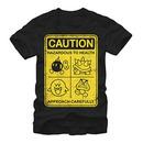 Nintendo Mario Caution Sign Black T-Shirt