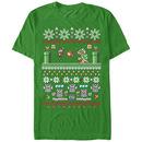 Nintendo Mario Bit Xmas Stack Green T-Shirt