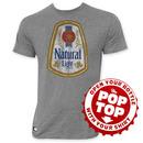 Natural Light Men's Gray Vintage Logo Pop Top Bottle Opener T-Shirt