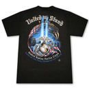 Patriotic USA United We Stand Marine Corps Black TShirt