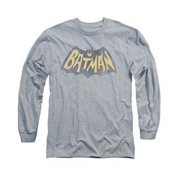 Batman Classic TV Show Logo Gray Long Sleeve T-Shirt