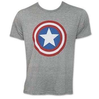 Captain America Shield Logo Tee Shirt - Heather Grey