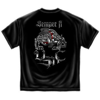 Semper Fi Marine Corps USA Patriotic Black Graphic T Shirt