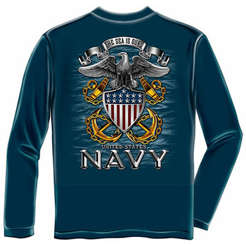 Men's Blue US Navy Patriotic Sea Is Ours Long Sleeve Shirt
