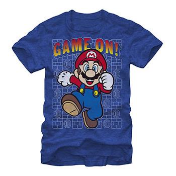 Nintendo Mario Game On Blue T-Shirt