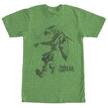 Nintendo Legend Of Zelda Link Outline Green T-Shirt