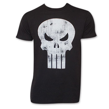 Black Distressed Punisher Skull Logo T-Shirt