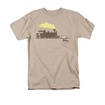 Back To The Future III Men's Beige Pushing Delorean Tee Shirt
