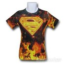 Superman Flaming Symbol Sublimated T-Shirt