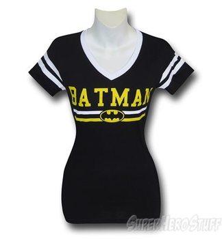 Batman Logo Women's Varsity V-Neck T-Shirt