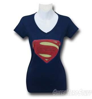 BVS Women's Superman Symbol V-Neck T-Shirt