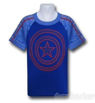 Captain America Kids Shield on Blue Space Dye T-Shirt