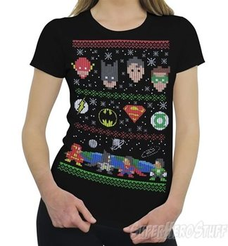 Justice League 8-Bit Ugly Sweater Women's T-Shirt