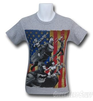 Justice League New 52 American Flag Men's T-Shirt