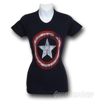 Captain America Women's Distressed Symbol T-Shirt