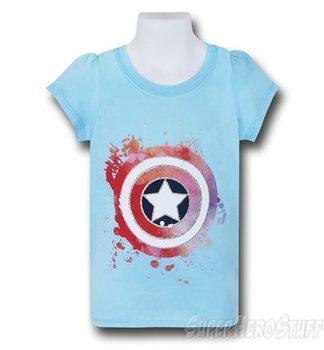 Captain America Glitter Shield Girls Kids T-Shirt