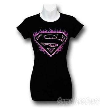 Superman Pink Flames Women's T-Shirt