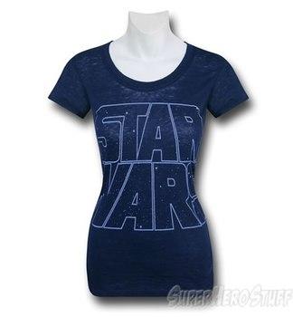 Star Wars Logo Blue Burnout Women's T-Shirt