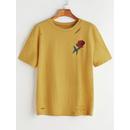 Rose Embroidered Slashed T-shirt