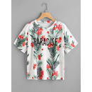 Letter And Tropical Print T-shirt