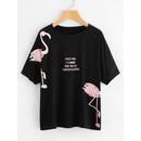 Flamingo Print Dolman Sleeve Tee