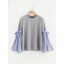 Belted Pinstripe Bell Sleeve Mixed Media Sweatshirt