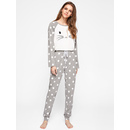 Polka Dot Raglan Sleeve Graphic Tee And Pants Pajama Set