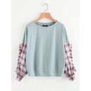 Frilled Checkered Sleeve Mixed Media Sweatshirt