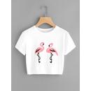 Flamingo Print Slit Side Crop Tee