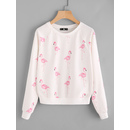 Allover Flamingo Print Raglan Sleeve Sweatshirt