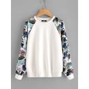 Tropical Print Raglan Sleeve Textured Sweatshirt