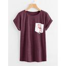 Contrast Flamingo Print Pocket Marled T-shirt