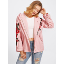 Rose Patch O-Ring Belted Cuff Hoodie Jacket
