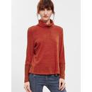 Burgundy Turtleneck Side Slit T-Shirt
