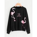 Drop Shoulder Flamingo Print Sweatshirt