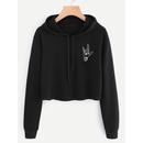 Hand Print Hooded Crop Sweatshirt