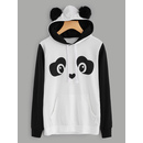 Panda Hoodie With Faux Fur Ball