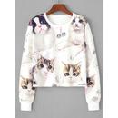 Cat Random Print Crop Sweatshirt