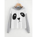 Panda Print Heather Knit Hoodie