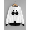 Fuzzy Panda Pattern Hoodie Jacket