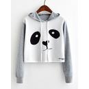 Panda Print Crop Marled Hoodie