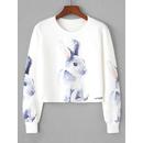 Rabbit Print Crop Sweatshirt