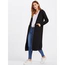 Patch Pocket Front Longline Hooded Jersey Coat