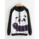 Panda Print Raglan Sleeve Hoodie