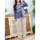Letter Print Tee & Stripe Pants Pj Set