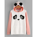 Contrast Sleeve Panda Hoodie With Faux Fur Ball