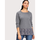 Floral Lace Panel Marled Hooded Tee