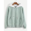 Pale Green Raglan Sleeve Pocket Sweatshirt With Contrast Hood