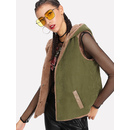 Single Breasted Sherpa Lined Hoodie Vest