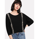 Lace Insert Dolman Sleeve High Low Tee